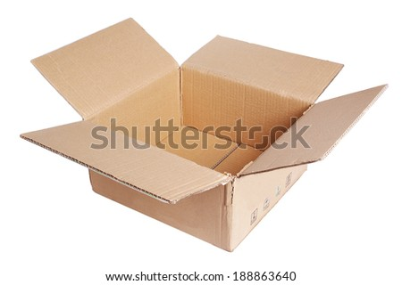 An open cardboard box in the background. - stock photo
