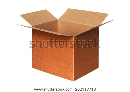 An open carton isolated on white - stock photo
