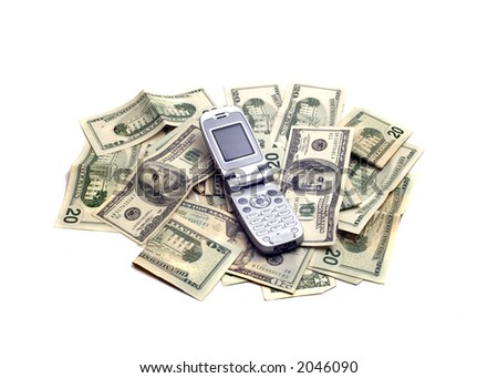 An open cellphone in the midst of lots of American dollars.