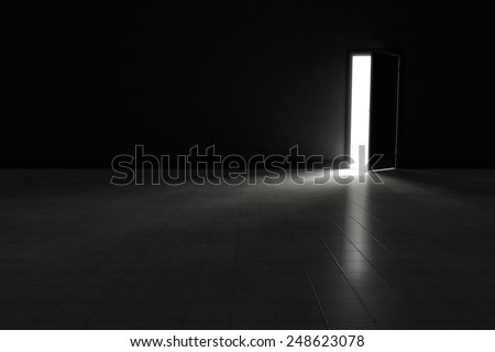 An open door with bright light streaming into a very dark room.  Background Illustration. - stock photo