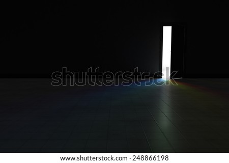 An open door with bright rainbow light streaming into a very dark room.  Background Illustration. - stock photo