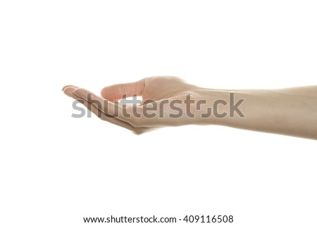 An open female hand, isolated on a white background - stock photo