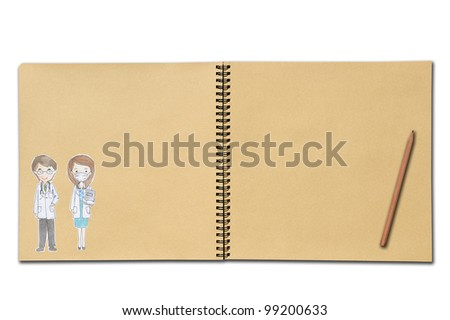 An open notebook with drawing of man and woman on wooden table