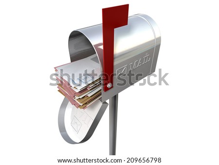 An open old school retro tin mailbox bulging with a stack of letters and envelopes crammed into it on an isolated background - stock photo