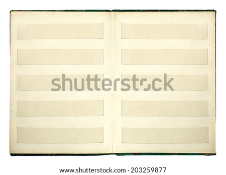 An open postage stamp album book, isolated against white.