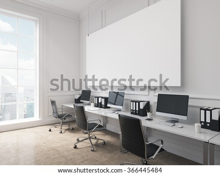An open space office, tables with computers arranged along the wall, panoramic window with city view to the left. Big board on the wall. Concept of work. 3D rendering - stock photo