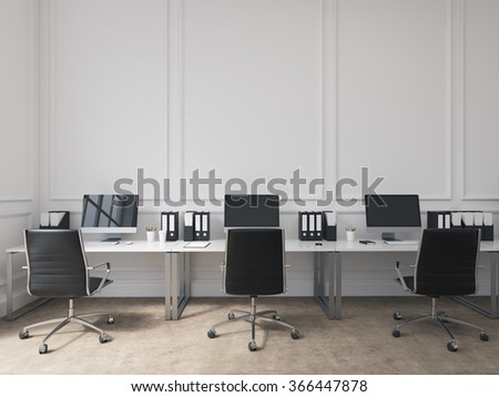 An open space office, tables with computers arranged along the wall, workers facing each other. Concept of work. 3D rendering