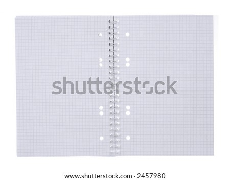an open spiral bound notebook with grid paper - stock photo