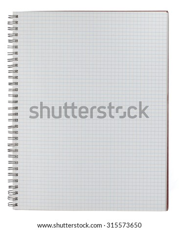 An open spiralbound notebook with graph paper sheets. Metal spiral binding is aged and worn. One page showing. Isolated on white with clipping path.