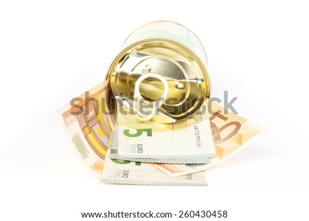An open tin can of euro banknotes with a pull tab against white background - stock photo
