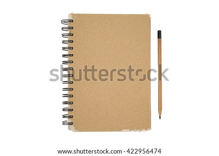 An open vintage sketchbook or notebook with pencil. Isolated on white background.