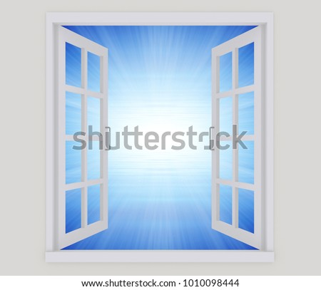 An open window on a white wall.