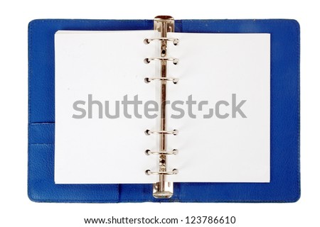 an opened blue leather notebook with white blank paper isolated on white background - stock photo