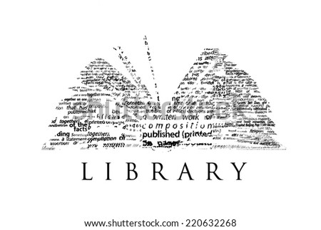 "An opened book made of black words on a white background with the word ""LIBRARY"" under it - Word cloud - stock photo"