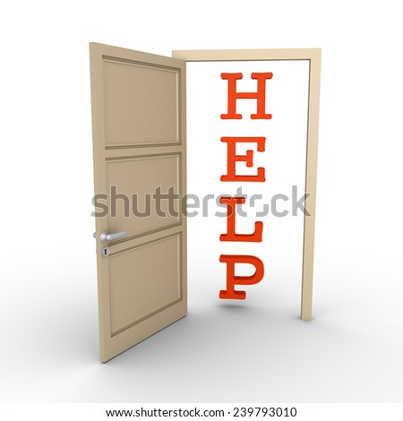An opened door reveals a HELP word - stock photo