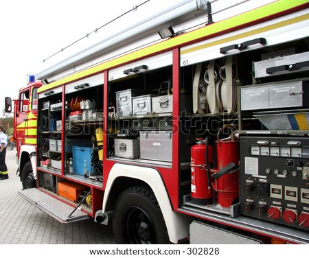 An opened up fire truck - stock photo