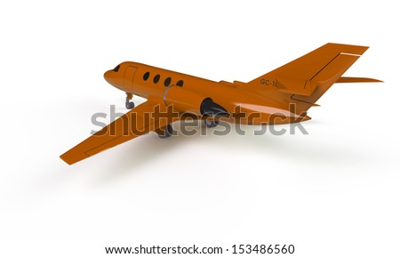 An orange airplane prepare for take off on the ground isolated on white