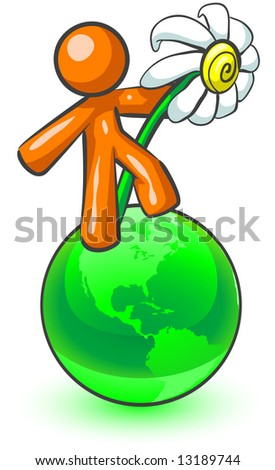 An orange man holding a large daisy while standing on top of a green earth. - stock photo