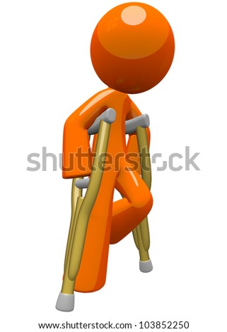 An orange man with crutches, moving about and finding his way. He is still a little challenged with his break and fractures, but still on the way to recovery! - stock photo