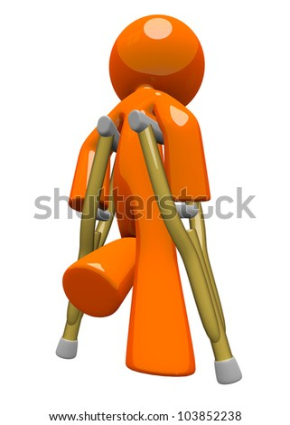 An orange man with crutches, walking away, appearing sad or in pain. Rehabilitation and wellness image. - stock photo