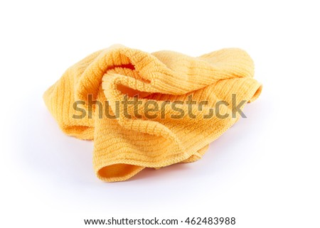 An orange microfiber towel on white background.