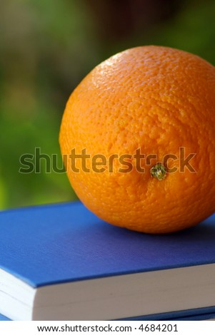 An orange on a book of the blue color. - stock photo