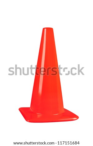 An orange street safety cone isolated on white - stock photo