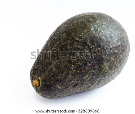 An organic fresh ripe avocado isolated on white background. Copy space
