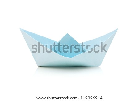An origami cyans boat