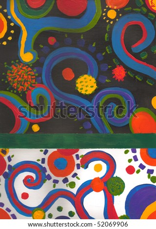 An original abstract art piece consisting of swirls, dots and other shapes over a black and white background. - stock photo