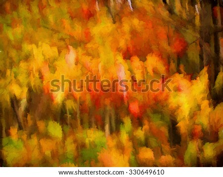 An original abstract photograph of colorful Autumn leaves turned into a painting