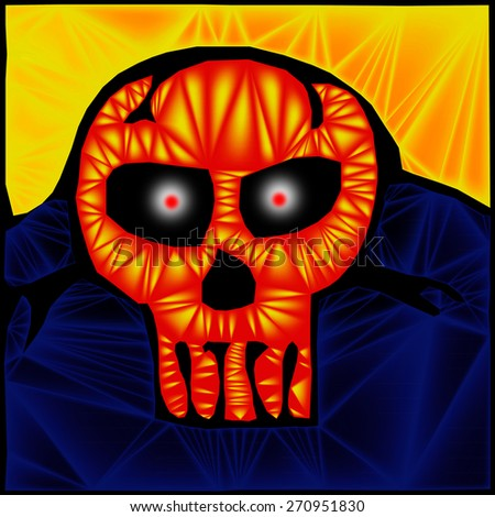 An original illustration of a colorful death skull. - stock photo