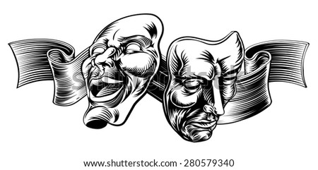 An original illustration of Theatre Masks, comedy and tragedy, in a vintage style with a ribbon or banner