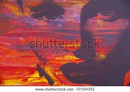 an original oil painting of highly stylised image - stock photo