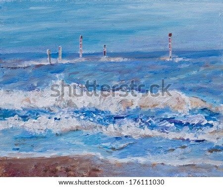 An original painting, illustration of an English  seascape. The sea has waves striking the beach. There are marker poles in the sea indicating obstacles. The sea is blue and the sky blue with clouds - stock photo
