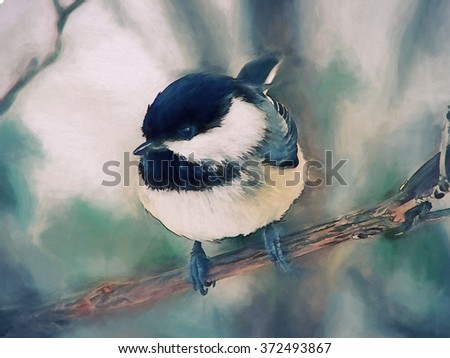 An original photograph of a black capped chickadee transformed into a toned painting