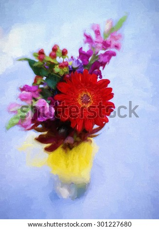 An original photograph of a colorful flower bouquet transformed into a colorful painting - stock photo