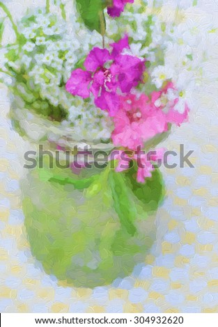 An original photograph of a mason jar filled with colorful wildflowers on a gingham tablecloth transformed into a digital painting - stock photo