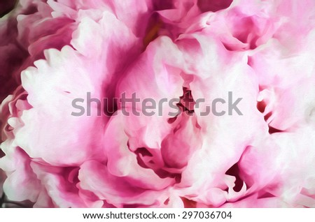 An original photograph of a pink peony closeup transformed into a digital painting - stock photo