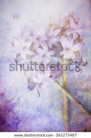 An original photograph of a purple hyacinth flower transformed into a colorful toned painting