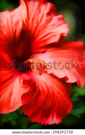 An original photograph of a red hibiscus flower transformed into a colorful digital illustration - stock photo