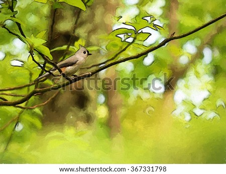 An original photograph of a tufted titmouse sitting in a tree transformed into a colorful painting - stock photo