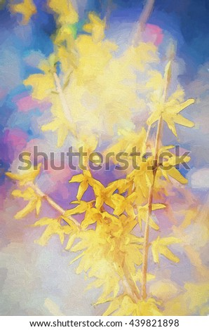 An original photograph of beautiful yellow forsythia in bloom transformed into a colorful painting - stock photo