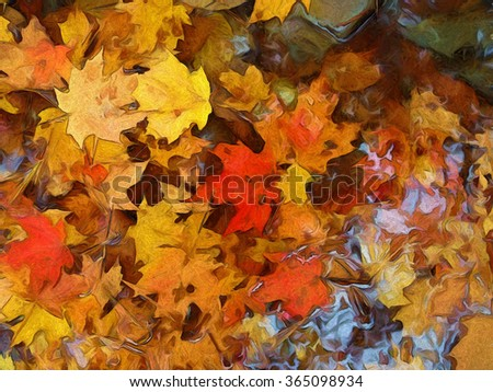 An original photograph of colorful fallen leaves floating in water turned into a vibrant painting