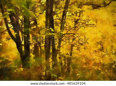 An original photograph of colorful trees in autumn transformed into a bright yellow digital painting