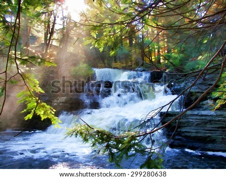 An original photograph of Factory Falls in the Poconos of Pennsylvania, transformed into a colorful digital illustration - stock photo