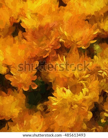 An original photograph of orange chrysanthemums transformed into a colorful abstract digital painting
