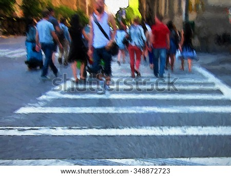 An original photograph of people crossing a busy New York City street intersection at transformed into a colorful abstract painting