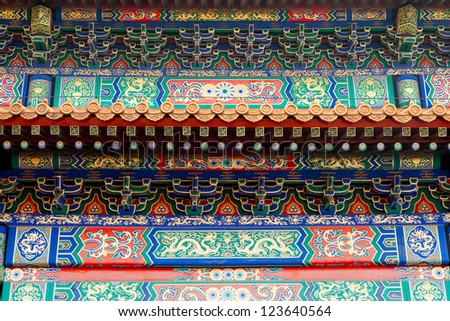 An ornate painted roof on a building in the Forbidden City, Beijing.