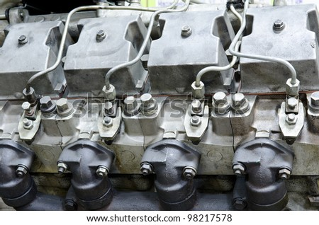 an outdated four cycle internal combustion engine - stock photo